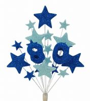 Number age 80th birthday cake topper decoration in shades of blue - free postage